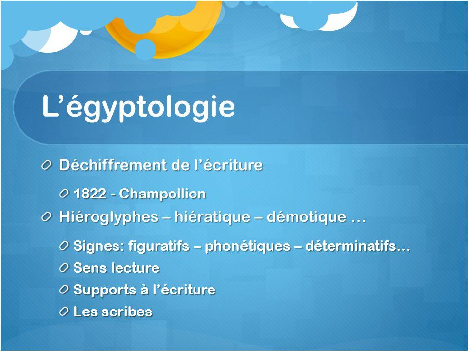 Légyptologie Déchiffrement de lécriture 1822 - Champollion Hiéroglyphes – hiératique – démotique … Signes: figuratifs – phonétiques – déterminatifs… S