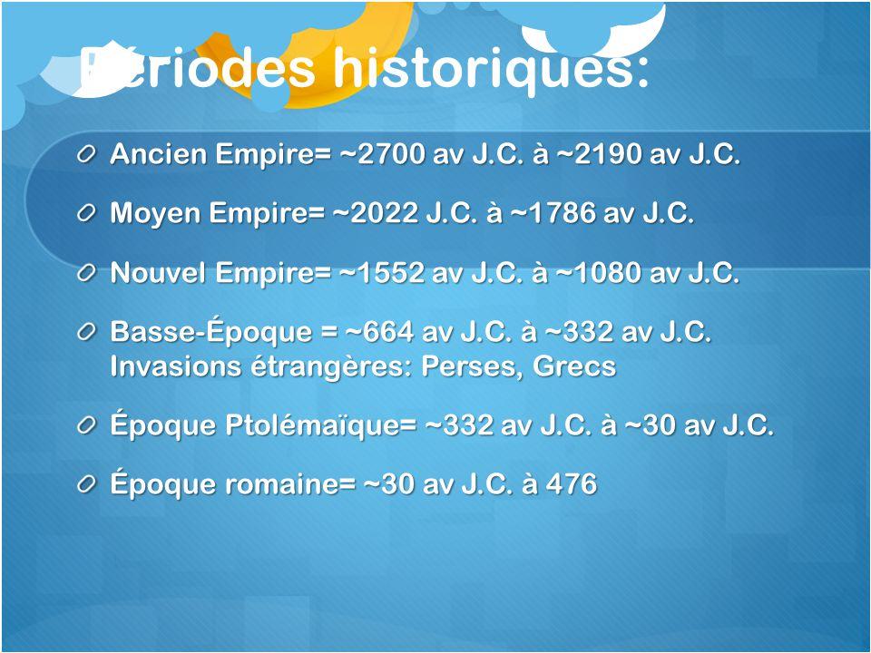 Périodes historiques: Ancien Empire= ~2700 av J.C. à ~2190 av J.C. Moyen Empire= ~2022 J.C. à ~1786 av J.C. Nouvel Empire= ~1552 av J.C. à ~1080 av J.