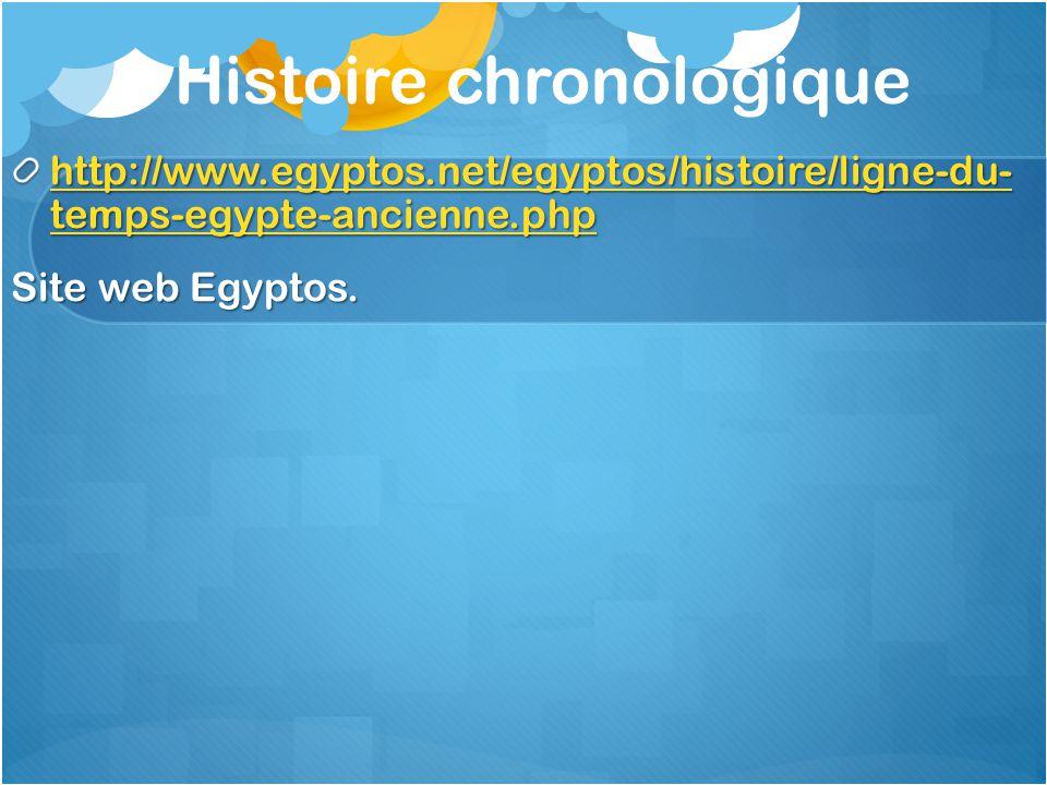 Histoire chronologique http://www.egyptos.net/egyptos/histoire/ligne-du- temps-egypte-ancienne.php http://www.egyptos.net/egyptos/histoire/ligne-du- t