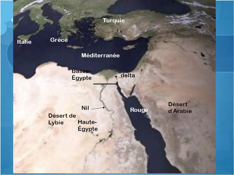 Situation spatiale de lÉgypte Rouge Désert d Arabie Turquie Grèce Italie Méditerranée delta Basse- Égypte Nil Désert de Lybie Haute- Égypte