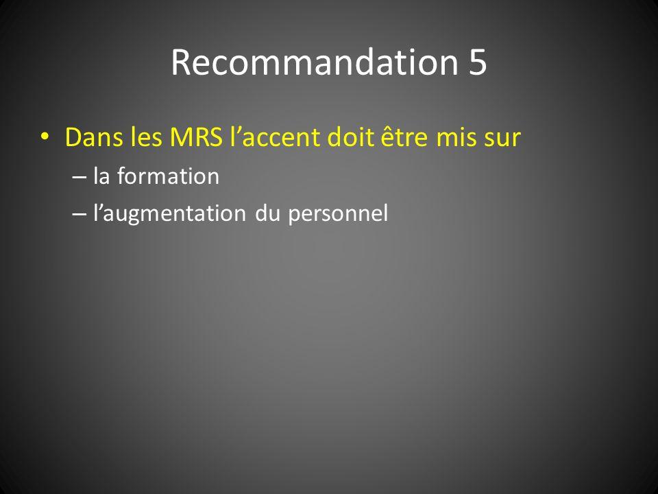 Recommandation 5 Dans les MRS laccent doit être mis sur – la formation – laugmentation du personnel