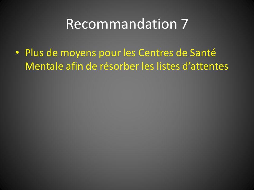 Recommandation 7 Plus de moyens pour les Centres de Santé Mentale afin de résorber les listes dattentes