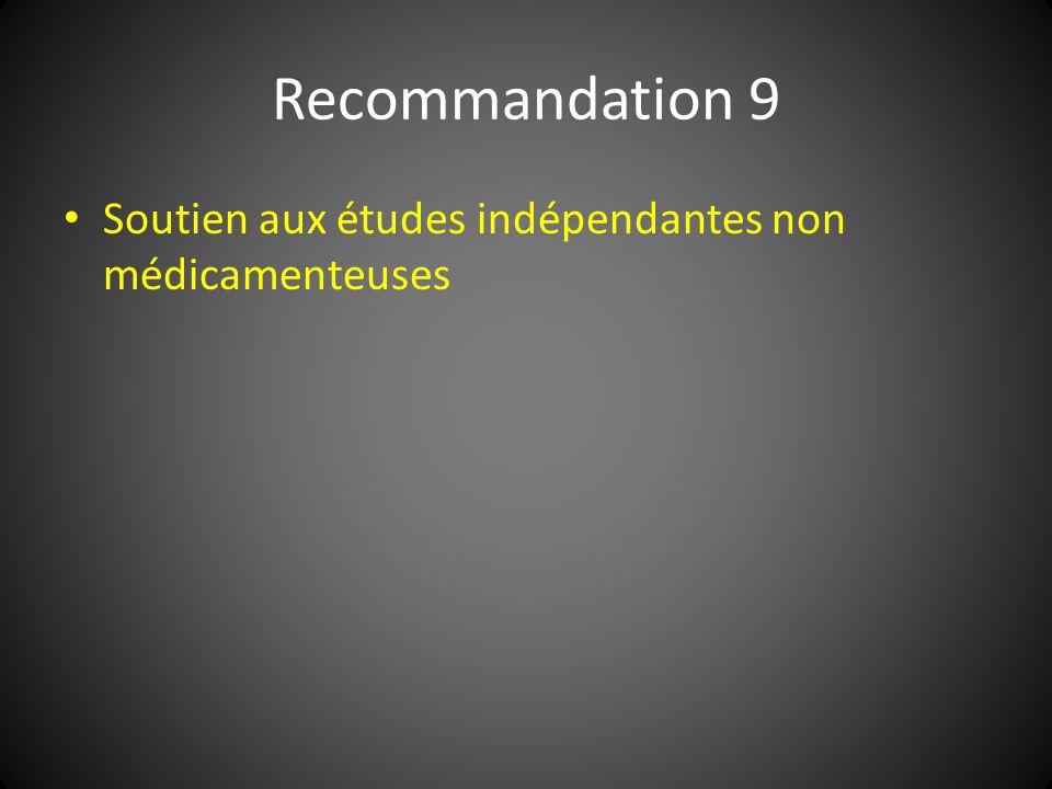 Recommandation 9 Soutien aux études indépendantes non médicamenteuses
