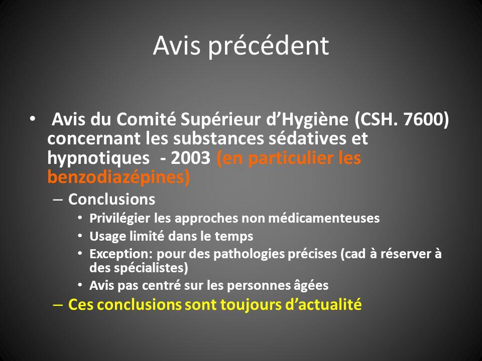Avis précédent Avis du Comité Supérieur dHygiène (CSH. 7600) concernant les substances sédatives et hypnotiques - 2003 (en particulier les benzodiazép