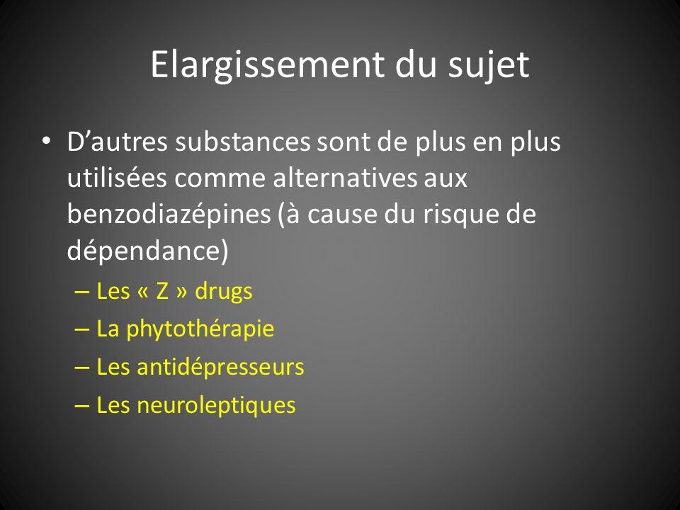 Elargissement du sujet Dautres substances sont de plus en plus utilisées comme alternatives aux benzodiazépines (à cause du risque de dépendance) – Le