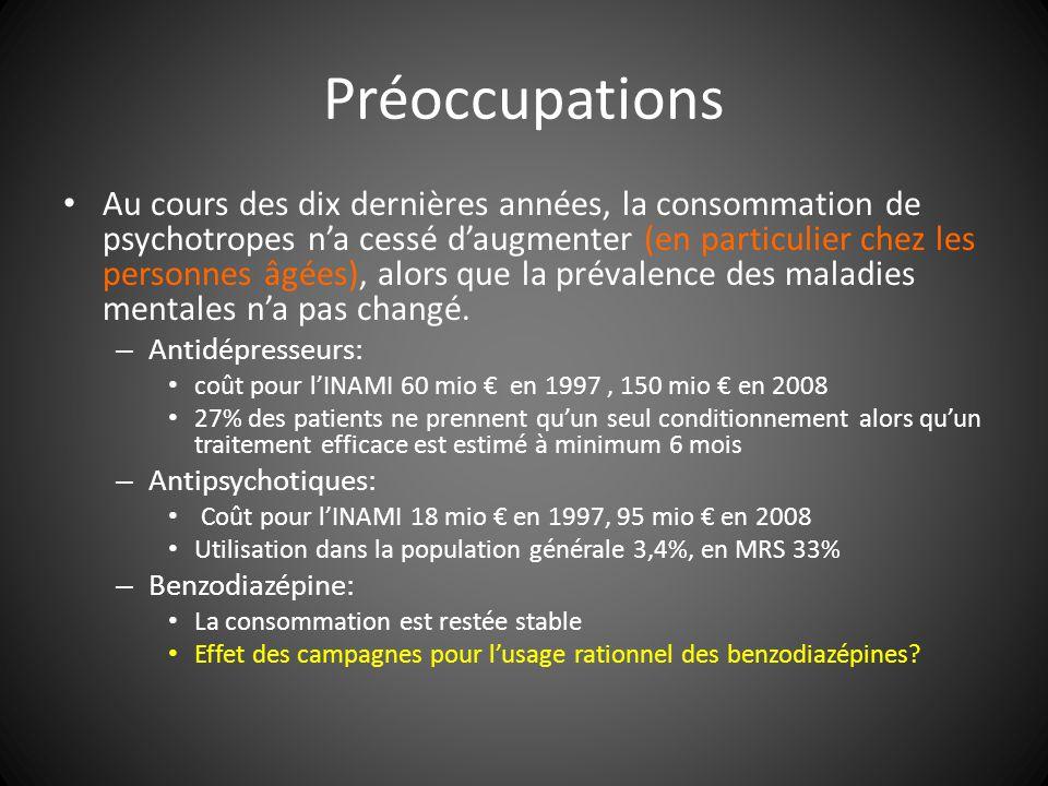 Préoccupations Au cours des dix dernières années, la consommation de psychotropes na cessé daugmenter (en particulier chez les personnes âgées), alors