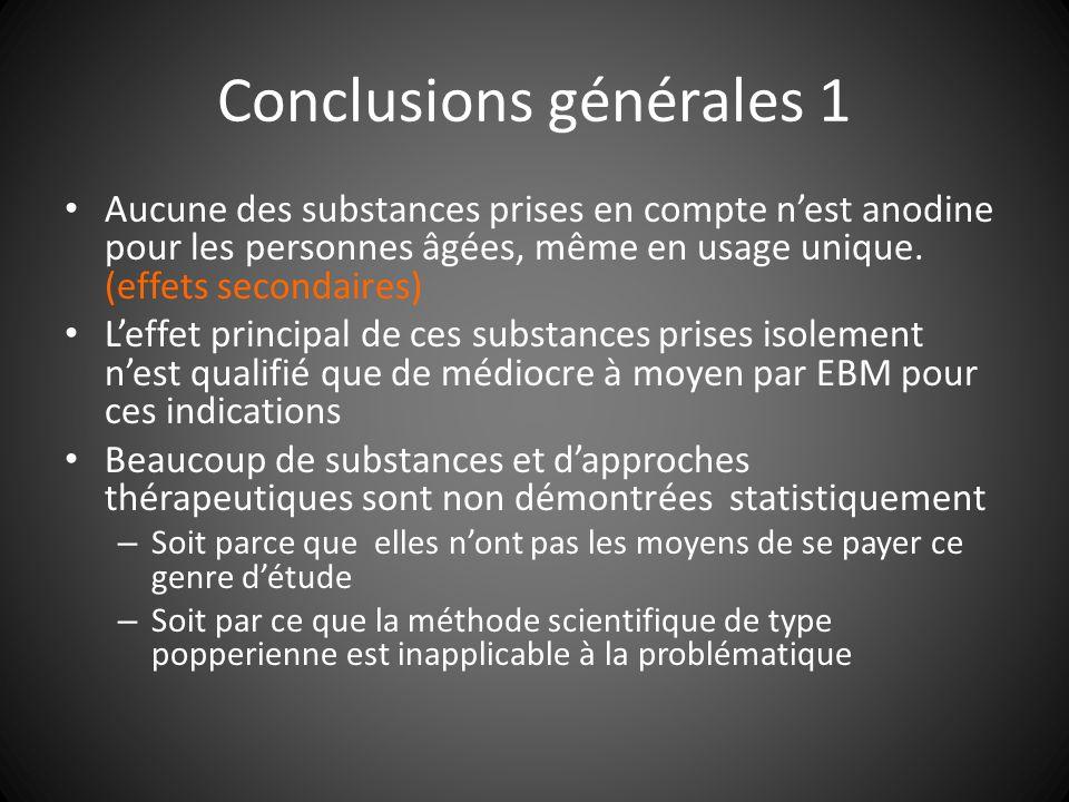 Conclusions générales 1 Aucune des substances prises en compte nest anodine pour les personnes âgées, même en usage unique. (effets secondaires) Leffe