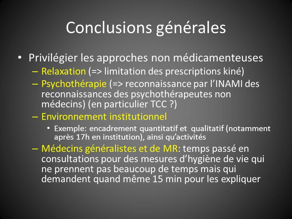 Conclusions générales Privilégier les approches non médicamenteuses – Relaxation (=> limitation des prescriptions kiné) – Psychothérapie (=> reconnais