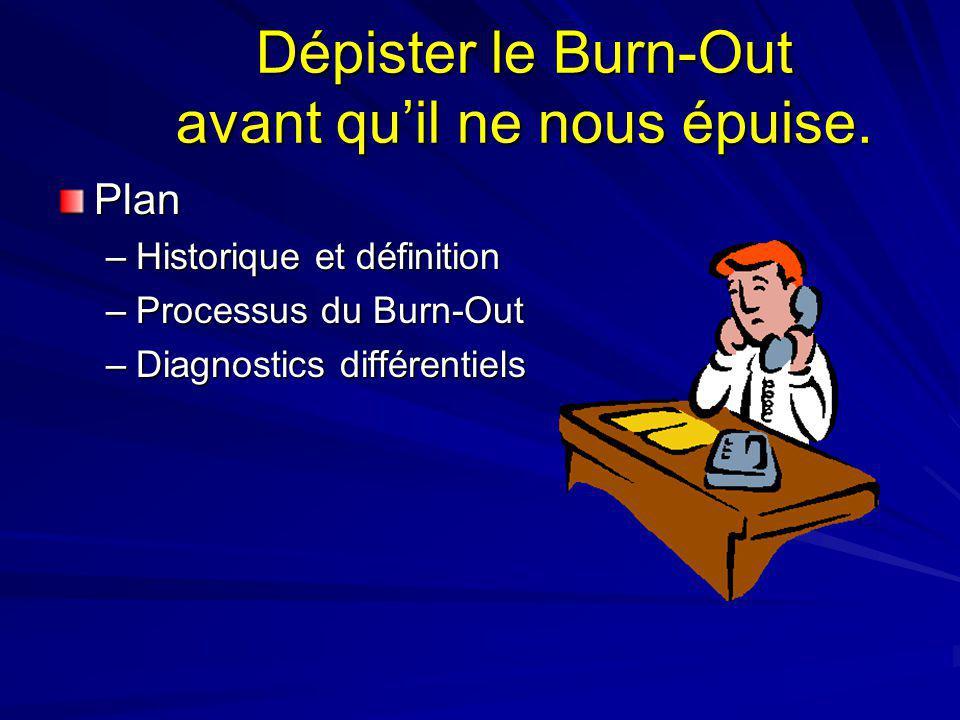 Dépister le Burn-Out avant quil ne nous épuise. Plan –Historique et définition –Processus du Burn-Out –Diagnostics différentiels