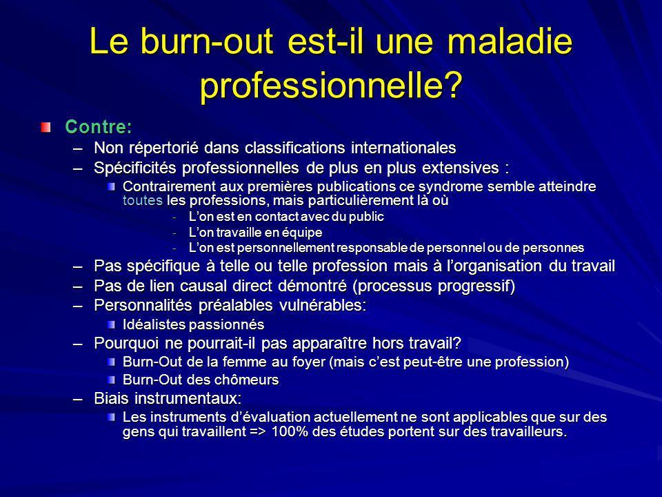 Le burn-out est-il une maladie professionnelle? Contre: –Non répertorié dans classifications internationales –Spécificités professionnelles de plus en