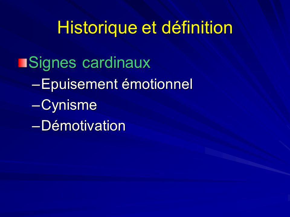 Historique et définition Signes cardinaux –Epuisement émotionnel –Cynisme –Démotivation