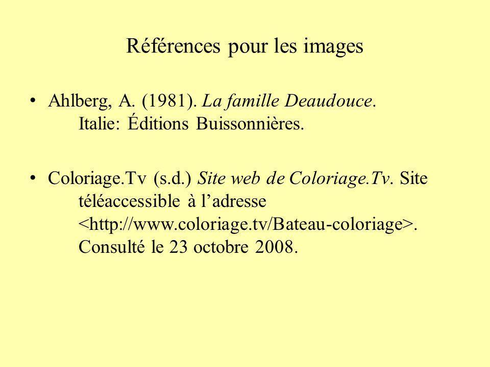 Référence bibliographique Ahlberg, A. (1981). La famille Deaudouce. Italie: Éditions Buissonnières.