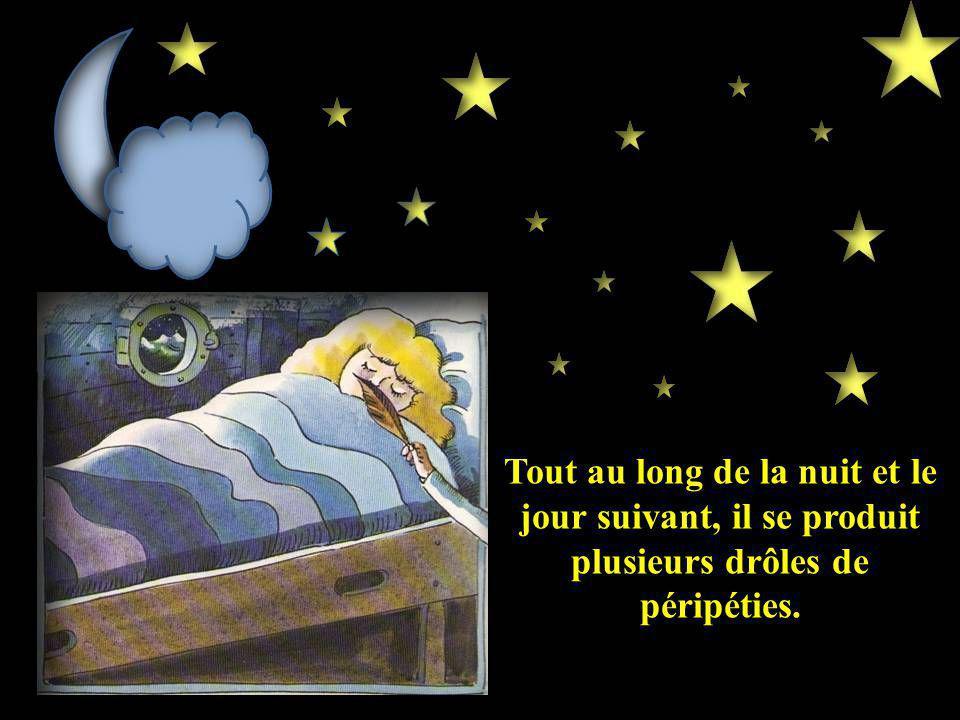 Tout au long de la nuit et le jour suivant, il se produit plusieurs drôles de péripéties.