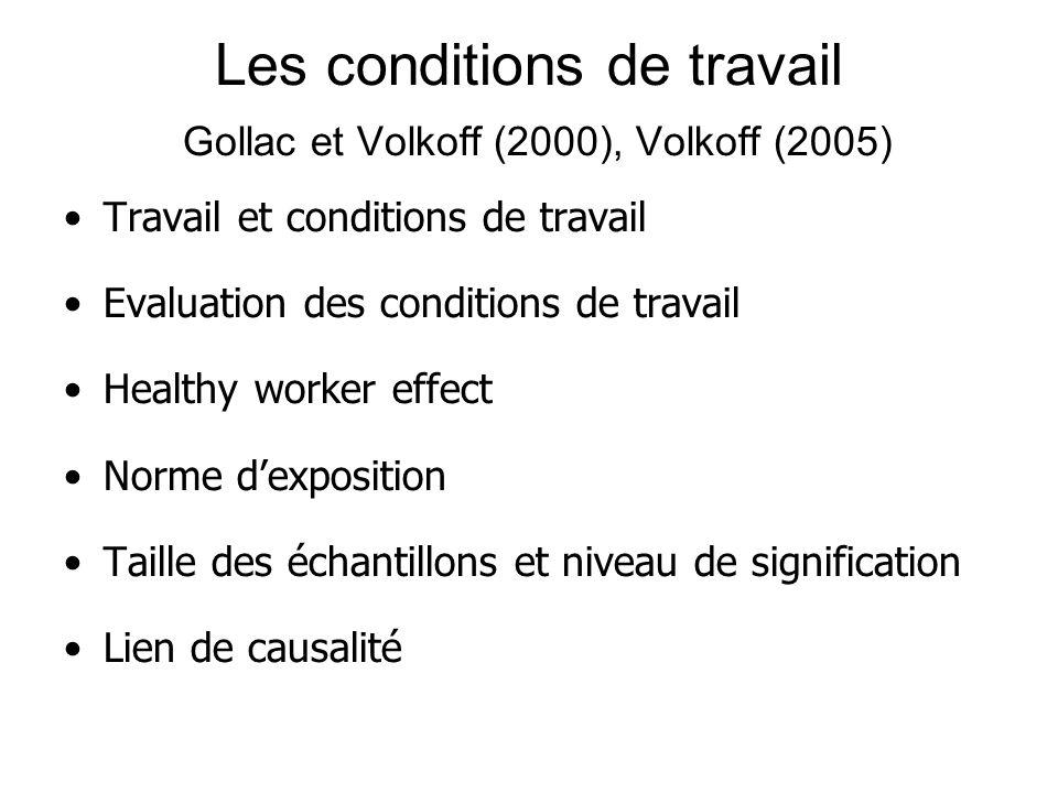 Les conditions de travail Gollac et Volkoff (2000), Volkoff (2005) Travail et conditions de travail Evaluation des conditions de travail Healthy worker effect Norme dexposition Taille des échantillons et niveau de signification Lien de causalité