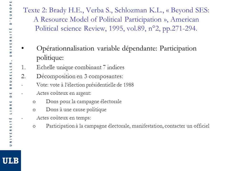 Opérationnalisation variable dépendante: Participation politique: 1.Echelle unique combinant 7 indices 2.Décomposition en 3 composantes: -Vote: vote à