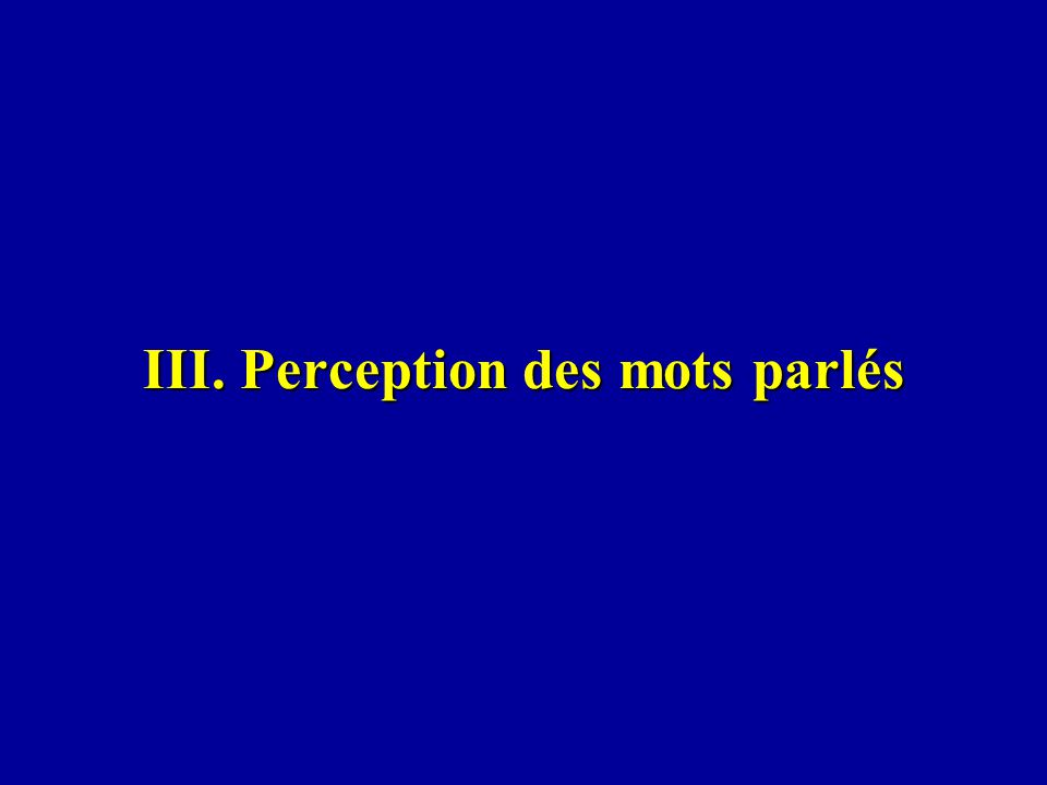 III. Perception des mots parlés