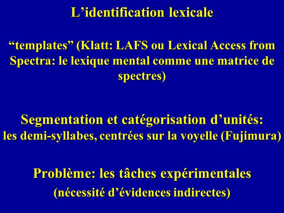 Lidentification lexicale templates (Klatt: LAFS ou Lexical Access from Spectra: le lexique mental comme une matrice de spectres) Segmentation et catég