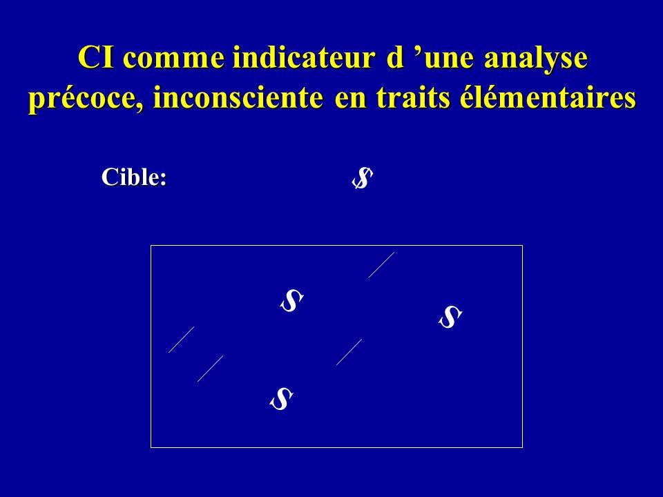 CI comme indicateur d une analyse précoce, inconsciente en traits élémentaires Cible: $ S S S