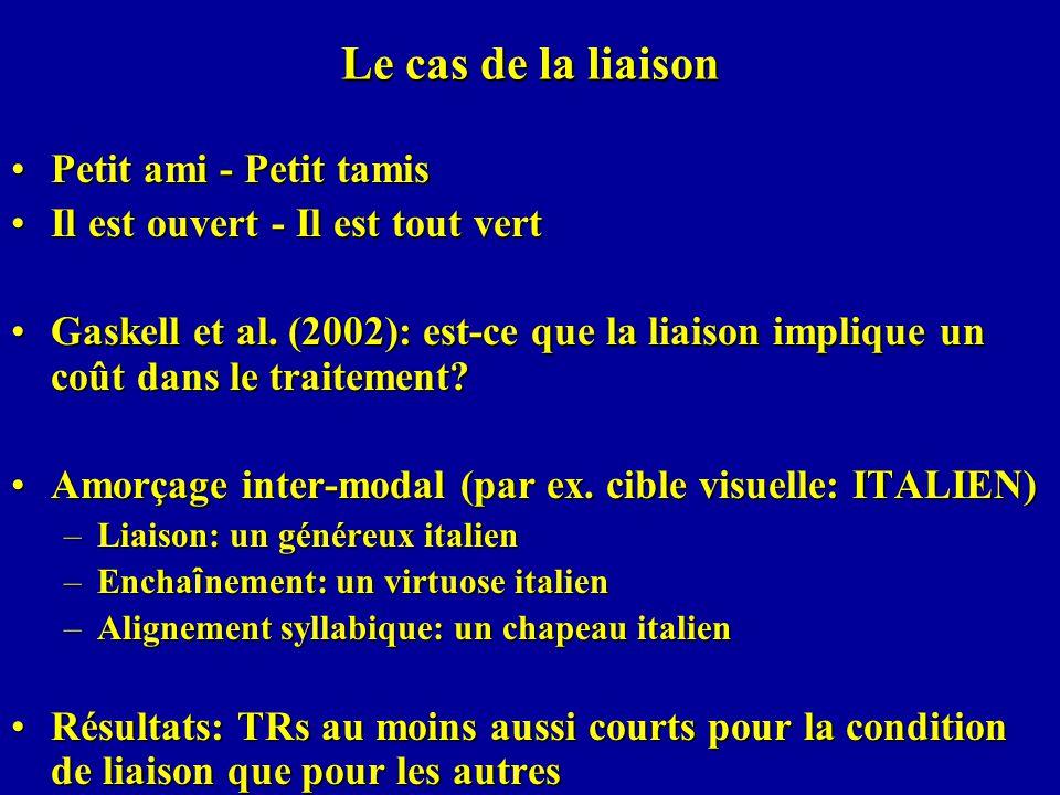 Le cas de la liaison Petit ami - Petit tamisPetit ami - Petit tamis Il est ouvert - Il est tout vertIl est ouvert - Il est tout vert Gaskell et al. (2