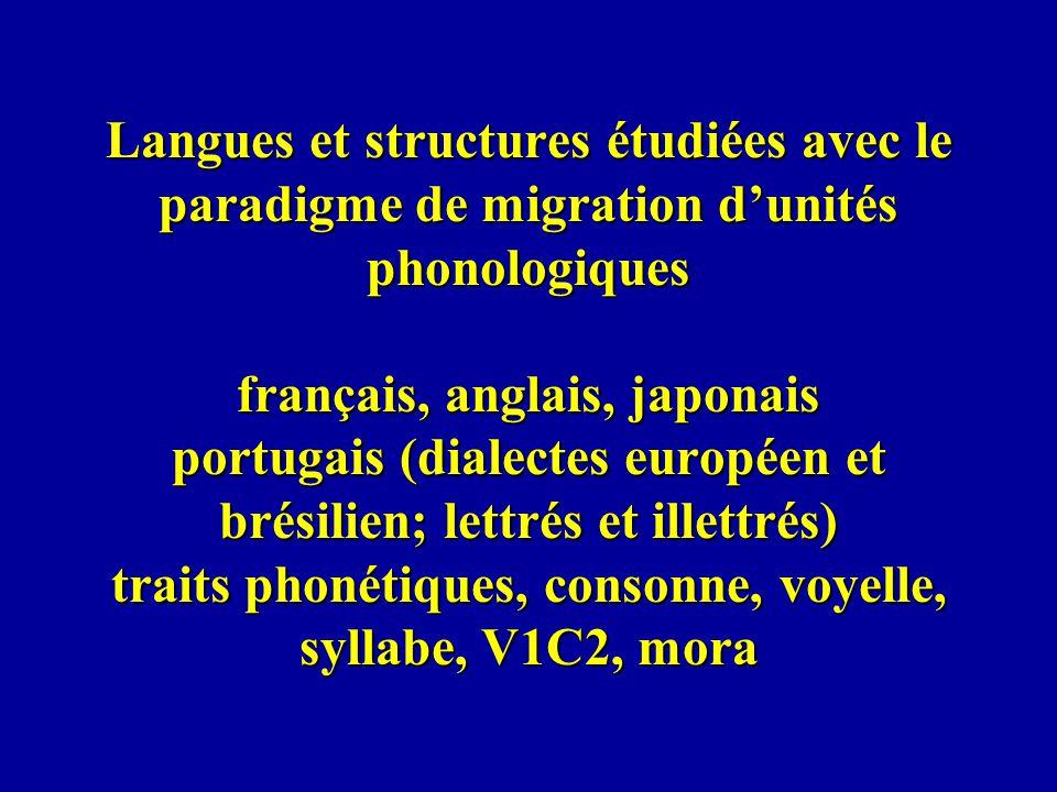 Langues et structures étudiées avec le paradigme de migration dunités phonologiques français, anglais, japonais portugais (dialectes européen et brési