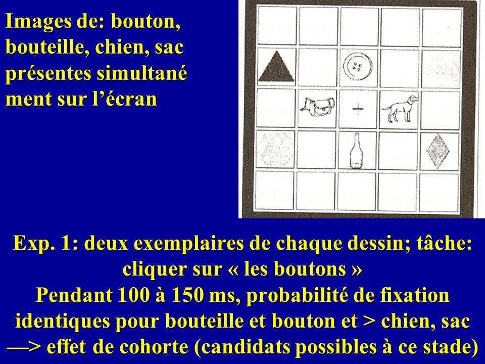 Images de: bouton, bouteille, chien, sac présentes simultané ment sur lécran Exp. 1: deux exemplaires de chaque dessin; tâche: cliquer sur « les bouto
