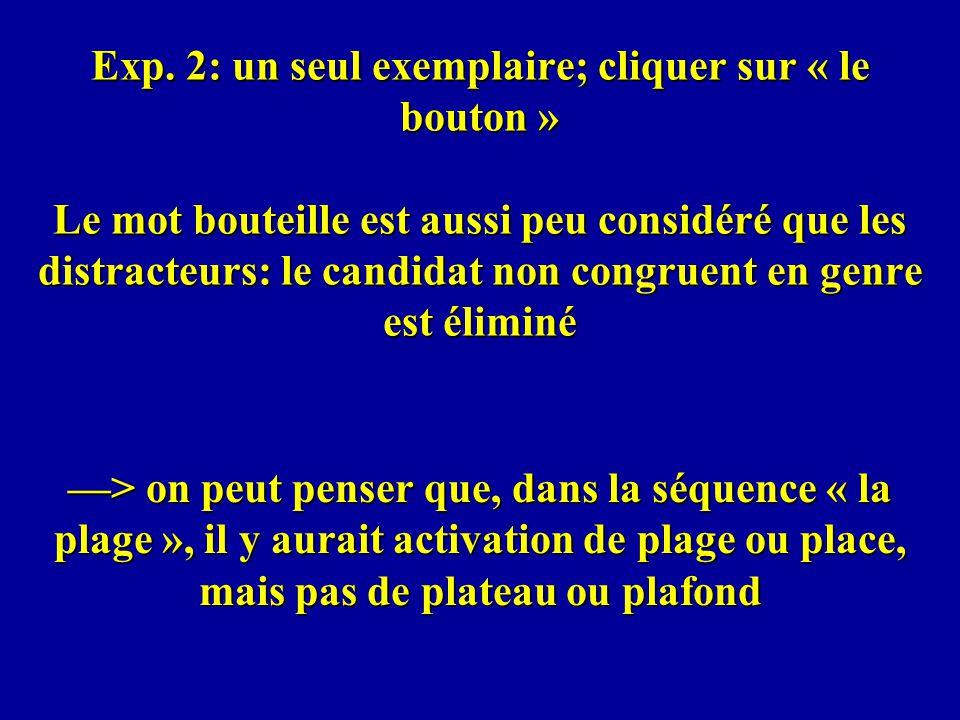 Exp. 2: un seul exemplaire; cliquer sur « le bouton » Le mot bouteille est aussi peu considéré que les distracteurs: le candidat non congruent en genr