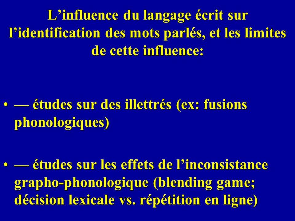 Linfluence du langage écrit sur lidentification des mots parlés, et les limites de cette influence: études sur des illettrés (ex: fusions phonologique