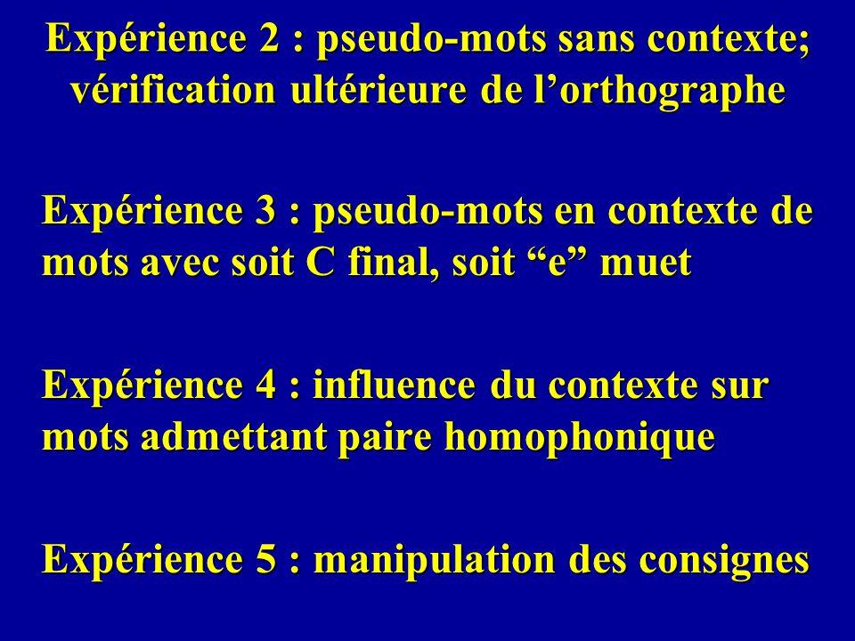 Expérience 2 : pseudo-mots sans contexte; vérification ultérieure de lorthographe Expérience 3 : pseudo-mots en contexte de mots avec soit C final, so