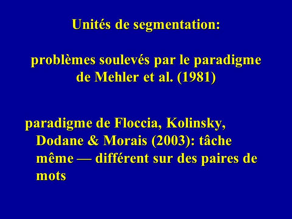 Unités de segmentation: problèmes soulevés par le paradigme de Mehler et al. (1981) paradigme de Floccia, Kolinsky, Dodane & Morais (2003): tâche même