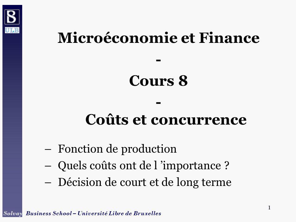 1 Solvay Business School – Université Libre de Bruxelles 1 Microéconomie et Finance - Cours 8 - Coûts et concurrence –Fonction de production –Quels coûts ont de l importance .
