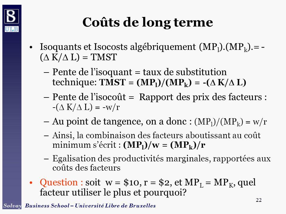 22 Solvay Business School – Université Libre de Bruxelles 22 Coûts de long terme Isoquants et Isocosts algébriquement (MP l ).(MP k ).= - ( K/ L) = TMST –Pente de lisoquant = taux de substitution technique: TMST = (MP l )/(MP k ) = -( K/ L) –Pente de lisocoût = Rapport des prix des facteurs : -( K/ L) = -w/r –Au point de tangence, on a donc : (MP l )/(MP k ) = w/r –Ainsi, la combinaison des facteurs aboutissant au coût minimum sécrit : (MP l )/w = (MP k )/r –Egalisation des productivités marginales, rapportées aux coûts des facteurs Question : soit w = $10, r = $2, et MP L = MP K, quel facteur utiliser le plus et pourquoi?