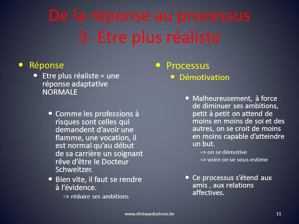 De la réponse au processus 3- Etre plus réaliste Réponse Etre plus réaliste = une réponse adaptative NORMALE Comme les professions à risques sont cell