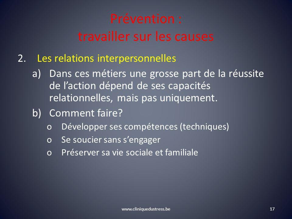 www.cliniquedustress.be Prévention : travailler sur les causes 2.Les relations interpersonnelles a)Dans ces métiers une grosse part de la réussite de