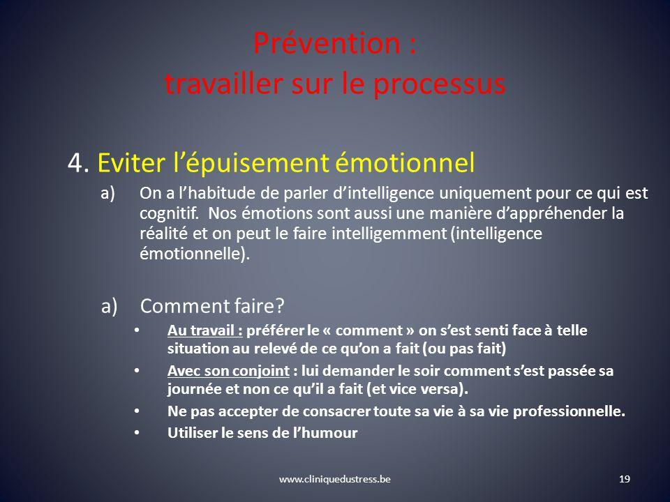 www.cliniquedustress.be Prévention : travailler sur le processus 4. Eviter lépuisement émotionnel a)On a lhabitude de parler dintelligence uniquement
