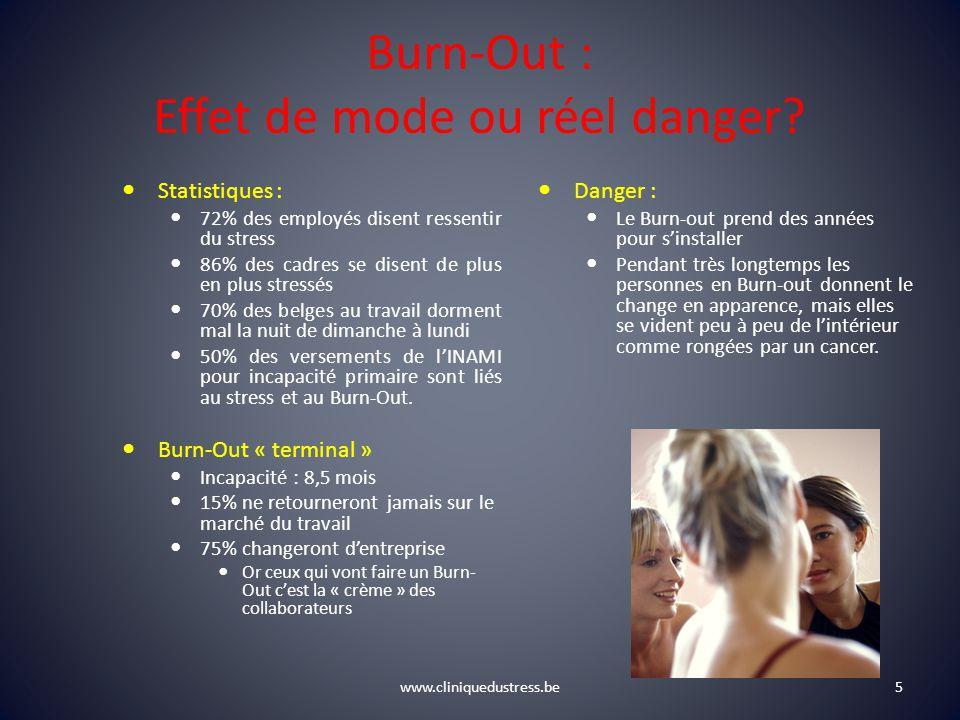 www.cliniquedustress.be Burn-Out : Effet de mode ou réel danger? Statistiques : 72% des employés disent ressentir du stress 86% des cadres se disent d