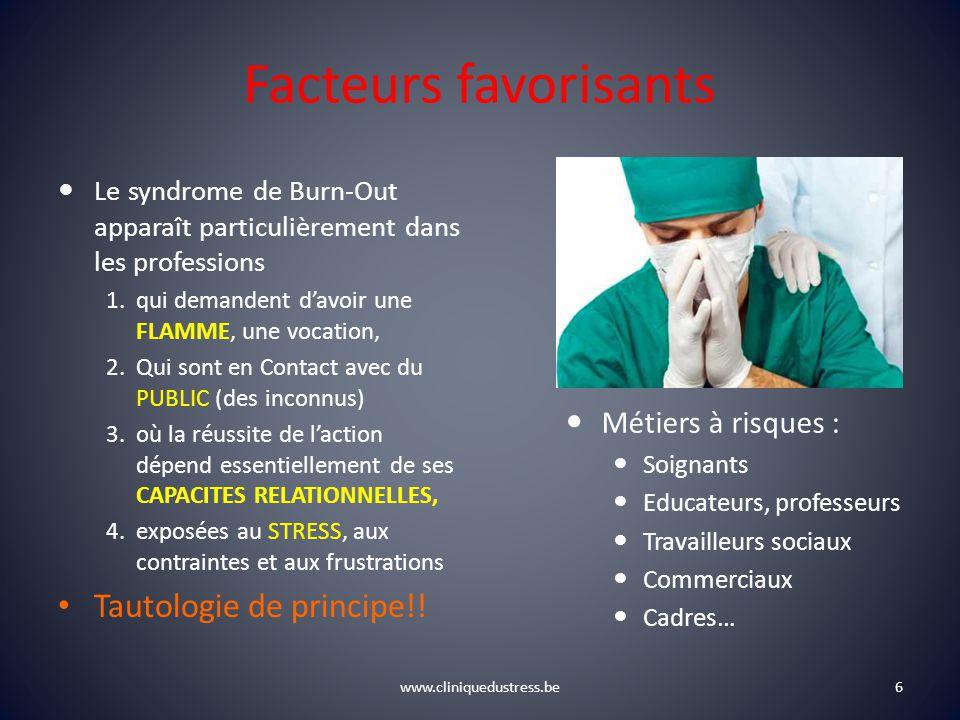 www.cliniquedustress.be Facteurs favorisants Le syndrome de Burn-Out apparaît particulièrement dans les professions 1.qui demandent davoir une FLAMME,