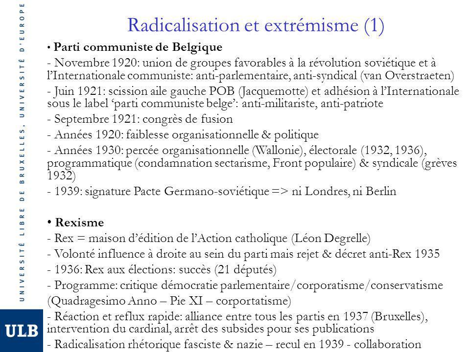 Radicalisation et extrémisme (1) Parti communiste de Belgique - Novembre 1920: union de groupes favorables à la révolution soviétique et à lInternationale communiste: anti-parlementaire, anti-syndical (van Overstraeten) - Juin 1921: scission aile gauche POB (Jacquemotte) et adhésion à lInternationale sous le label parti communiste belge: anti-militariste, anti-patriote - Septembre 1921: congrès de fusion - Années 1920: faiblesse organisationnelle & politique - Années 1930: percée organisationnelle (Wallonie), électorale (1932, 1936), programmatique (condamnation sectarisme, Front populaire) & syndicale (grèves 1932) - 1939: signature Pacte Germano-soviétique => ni Londres, ni Berlin Rexisme - Rex = maison dédition de lAction catholique (Léon Degrelle) - Volonté influence à droite au sein du parti mais rejet & décret anti-Rex 1935 - 1936: Rex aux élections: succès (21 députés) - Programme: critique démocratie parlementaire/corporatisme/conservatisme (Quadragesimo Anno – Pie XI – corportatisme) - Réaction et reflux rapide: alliance entre tous les partis en 1937 (Bruxelles), intervention du cardinal, arrêt des subsides pour ses publications - Radicalisation rhétorique fasciste & nazie – recul en 1939 - collaboration