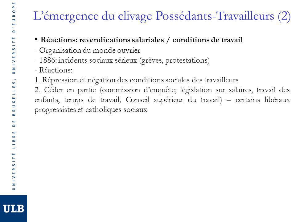Lémergence du clivage Possédants-Travailleurs (2) Réactions: revendications salariales / conditions de travail - Organisation du monde ouvrier - 1886: