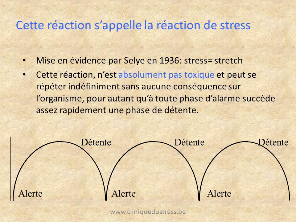 www.cliniquedustress.be Mise en évidence par Selye en 1936: stress= stretch Cette réaction, nest absolument pas toxique et peut se répéter indéfinimen