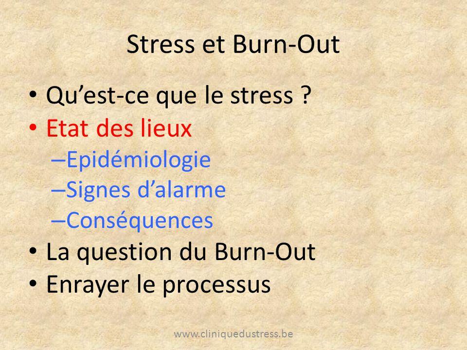 Stress et Burn-Out Quest-ce que le stress ? Etat des lieux – Epidémiologie – Signes dalarme – Conséquences La question du Burn-Out Enrayer le processu
