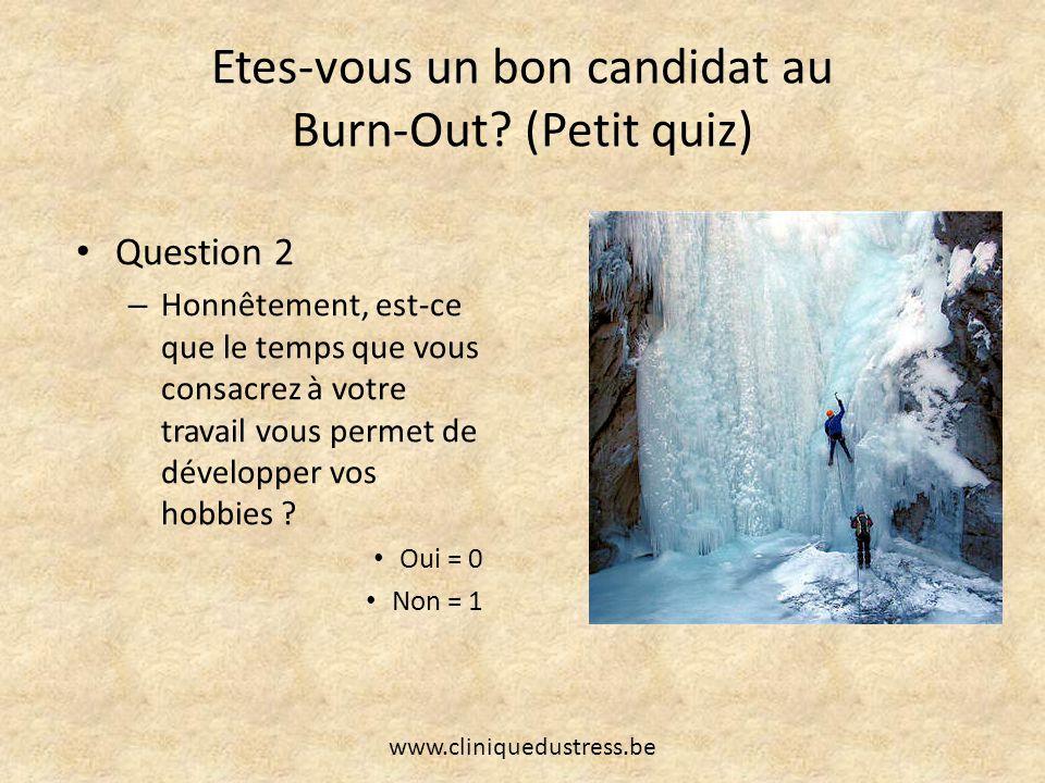 Etes-vous un bon candidat au Burn-Out? (Petit quiz) Question 2 – Honnêtement, est-ce que le temps que vous consacrez à votre travail vous permet de dé