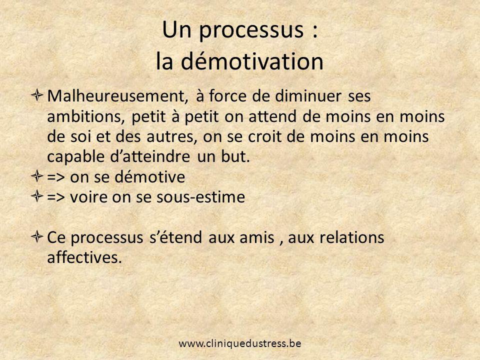 Un processus : la démotivation Malheureusement, à force de diminuer ses ambitions, petit à petit on attend de moins en moins de soi et des autres, on