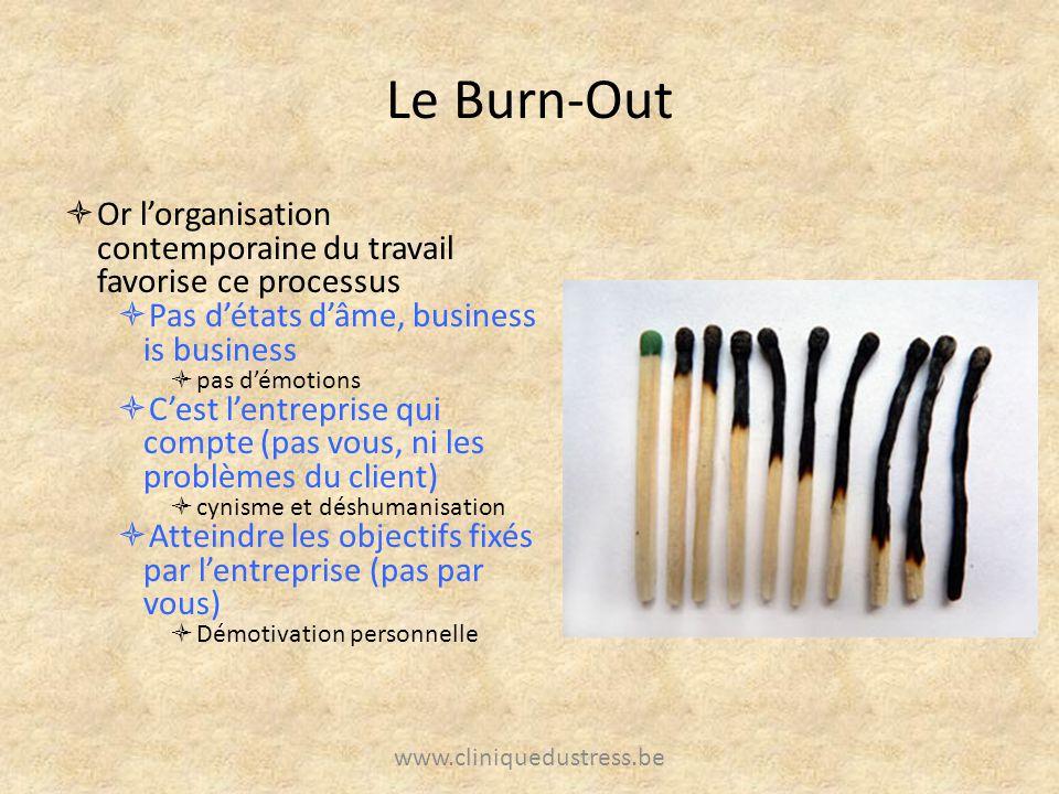 Le Burn-Out Or lorganisation contemporaine du travail favorise ce processus Pas détats dâme, business is business pas démotions Cest lentreprise qui c