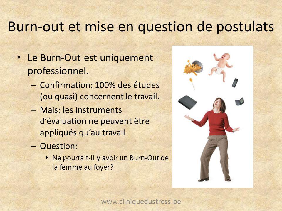 Burn-out et mise en question de postulats Le Burn-Out est uniquement professionnel. – Confirmation: 100% des études (ou quasi) concernent le travail.