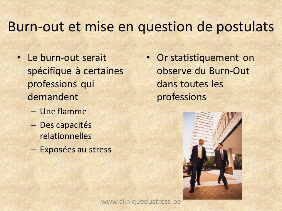 Burn-out et mise en question de postulats Le burn-out serait spécifique à certaines professions qui demandent – Une flamme – Des capacités relationnel