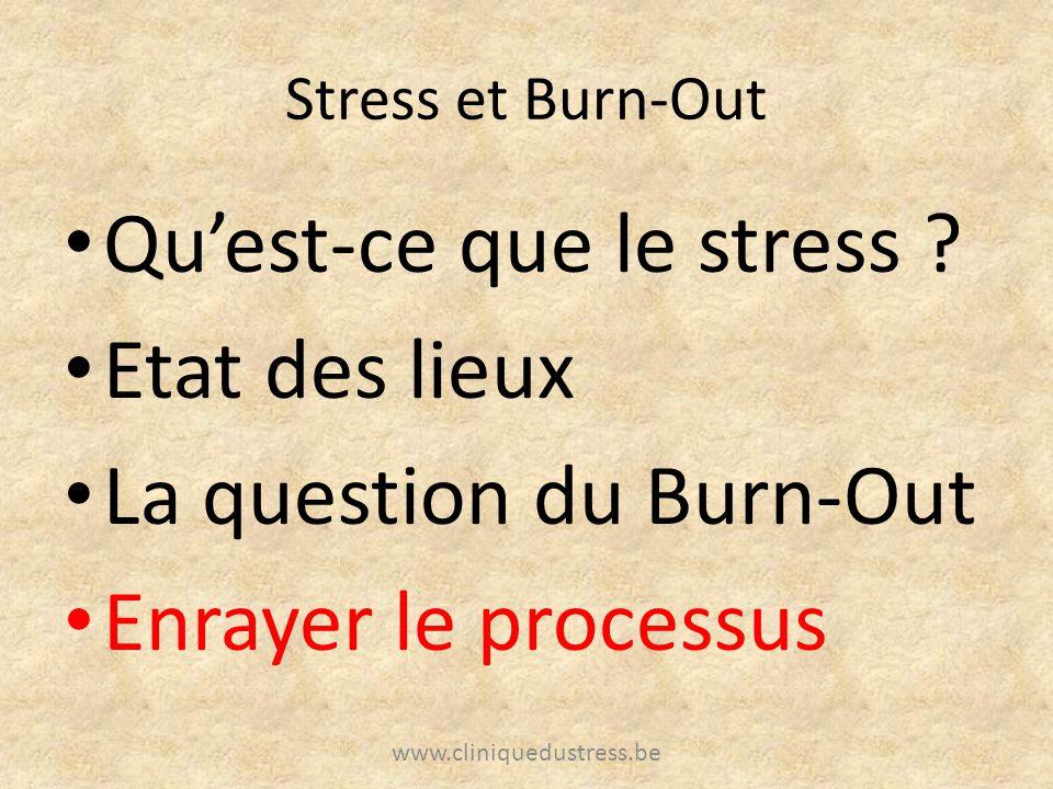 Stress et Burn-Out Quest-ce que le stress ? Etat des lieux La question du Burn-Out Enrayer le processus www.cliniquedustress.be