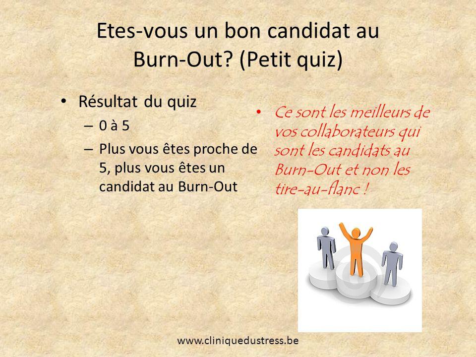 Etes-vous un bon candidat au Burn-Out? (Petit quiz) Résultat du quiz – 0 à 5 – Plus vous êtes proche de 5, plus vous êtes un candidat au Burn-Out Ce s