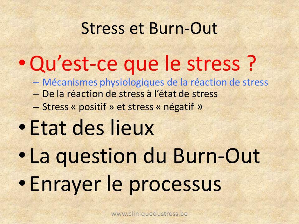 Stress et Burn-Out Quest-ce que le stress ? – Mécanismes physiologiques de la réaction de stress – De la réaction de stress à létat de stress – Stress