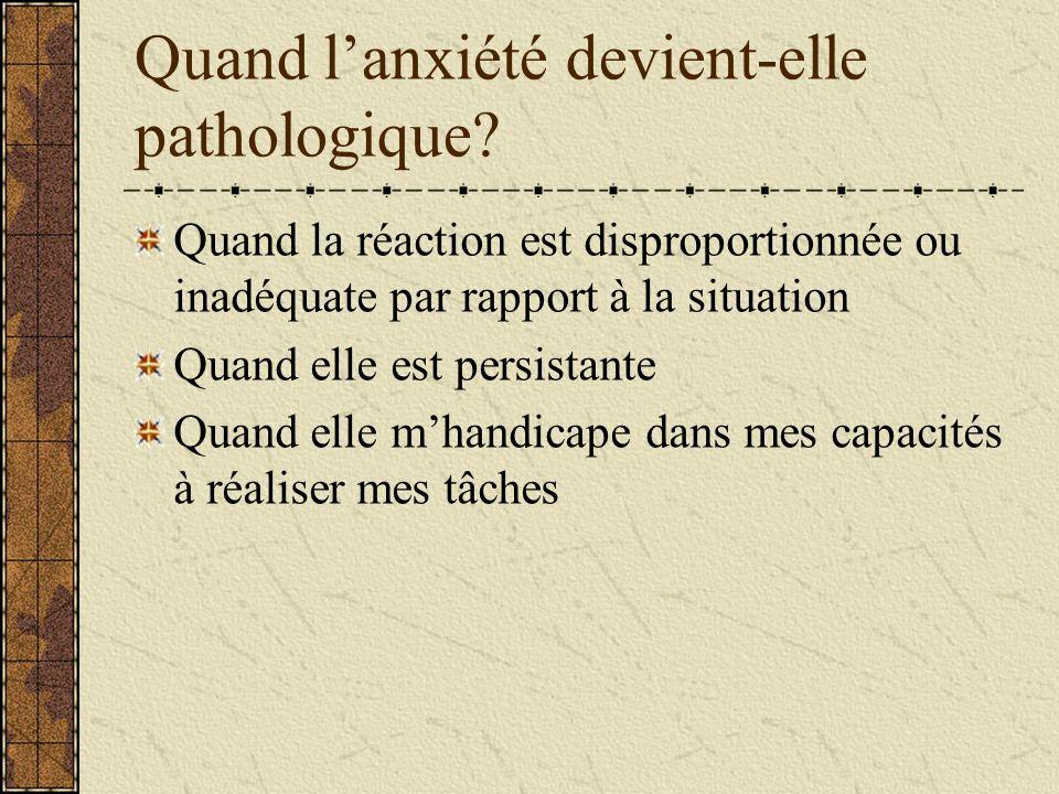 Quand lanxiété devient-elle pathologique? Quand la réaction est disproportionnée ou inadéquate par rapport à la situation Quand elle est persistante Q
