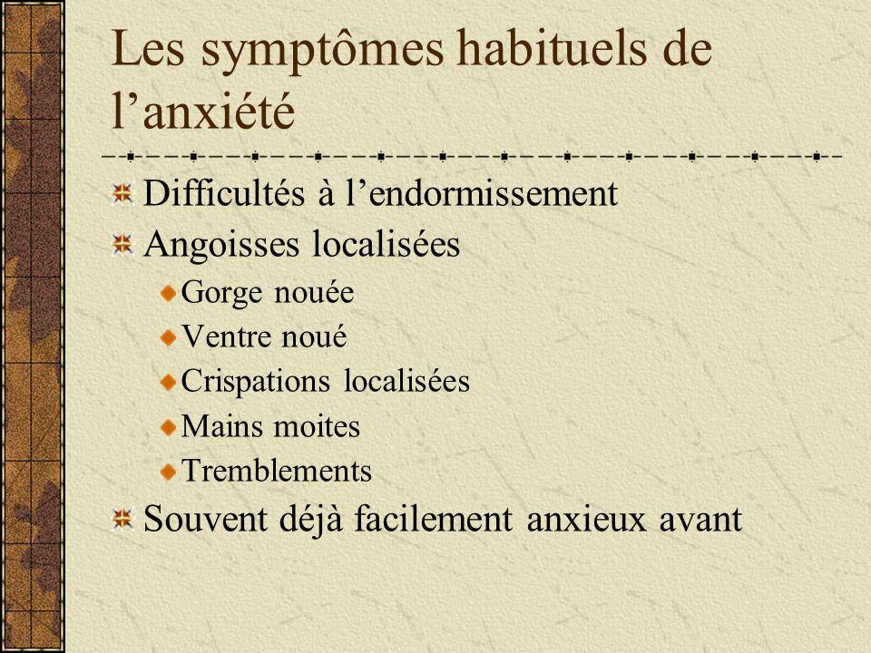 Les symptômes habituels de lanxiété Difficultés à lendormissement Angoisses localisées Gorge nouée Ventre noué Crispations localisées Mains moites Tre